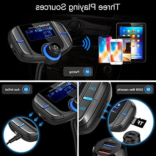 Sumind Adapter, Car Bluetooth Bluetooth Car Inch Display, QC3.0/2.4A Dual Mp3 with Mount and Plate