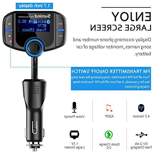 Sumind Wireless Adapter, Car Fm Transmitter, Bluetooth 1.7 Inch Display, QC3.0/2.4A USB Mp3 Mount and Plate