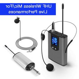 "Portable Wireless Microphone UHF Kit Receiver 1/4"" Output Fo"