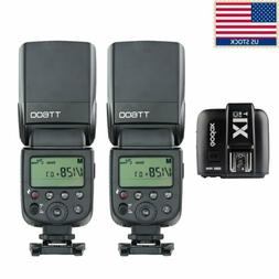 2x Godox TT600 2.4G Camera Flash Speedlite + X1T-C Transmitt