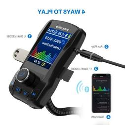 "VicTsing  1.8"" Color Display Bluetooth FM Transmitter for Ca"